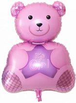 Roze Beer XL ballon - Kraamcadeau – Geboorte versiering – Geboorte ballonnen – Feest versiering – Baby Shower – Geboorte meisje