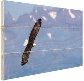 Adelaar voor bergen Hout 80x60 cm - Foto print op Hout (Wanddecoratie)
