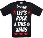 Let's rock this christmas T-shirt maat 110/116 zwart
