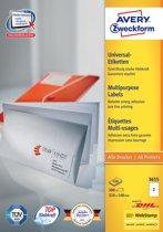 2x Avery witte etiketten QuickPeel 210x148mm (bxh), 200 stuks, 2 per blad, doos a 100 blad