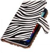 Samsung Galaxy S5 Hoesje Zebra Bookstyle Wit