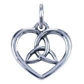 Zilveren Keltische hart ketting hanger - met triqueta