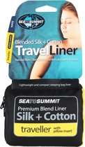 Sea to Summit - Silk Cotton Liner Traveller - Lakenzak - Katoen - Blauw - Recht met kussenhoes