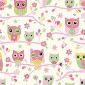 Dutch Wallcoverings Behang uiltjes - roze/groen