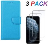 iPhone XR - Bookcase turquoise - portemonee hoesje + 2X Tempered Glass Screenprotector