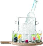 LSA Paddle Vodkaglazen - Met Houten Dienblad - Transparant - Set van 12 Stuks