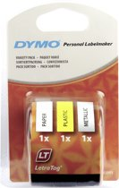 DYMO LetraTag assorted 3 pack labelprinter-tape