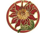 Behave® Dames broche rond bloem rood - emaille sierspeld -  sjaalspeld