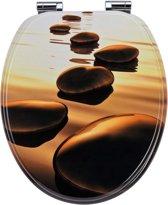 EISL WC-Bril EDSS01SC - MDF-Hout - Soft Close - Verchroomde Scharnieren - Decor -3-zijdige Print - Sea Stone