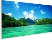 Blauw helder water omringd door groene bomen op Bora Bora Plexiglas 80x40 cm - Foto print op Glas (Plexiglas wanddecoratie)