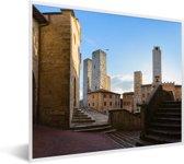 Foto in lijst - Gebouwen in de stad San Gimignano bij Toscane fotolijst wit 50x40 cm - Poster in lijst (Wanddecoratie woonkamer / slaapkamer)