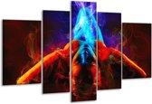 Glasschilderij Kunst | Rood, Blauw, Rood | 170x100cm 5Luik | Foto print op Glas |  F004593