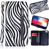 H.K. Zebra print rits boekhoesje capabel voor maar liefst 12 pasjes geschikt voor Apple Iphone 5/5S/5SE
