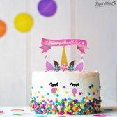 Taartdecoratie – Unicorn Taart Decoratie- Eenhoorn Taart Topper - Cake Versiering met Oogwimpers - Taartversiering - Taart Versiering met Eenhoorn Wimpers - Kinder Taart - Happy Birthday - Geboorte - Verjaardagstaart Idee Tip Kado