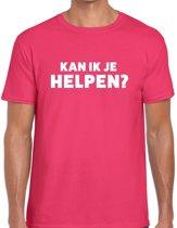 Can i help you beurs/evenementen t-shirt roze heren - verkoop/horeca L