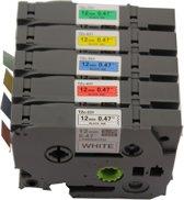 KATRIZ® huismerk label tape voor Brother | GL-100/PT-1100CH/PT-1700/PT-H100/PT-D200 | 1x Tze-231(Zwart op Wit) + 1x Tze-431(Zwart op Rood) + 1x Tze-531(Zwart op Blauw) + 1x Tze-631(Zwart op Geel) + 1x Tze-731(Zwart op Groen) | 12mm*8m | 5 stuks