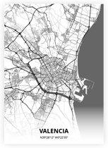 Valencia plattegrond - A3 poster - Zwart witte stijl