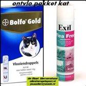 anti vlooien pakket voor de kat 4 kg tot 8kg - omgevingsspray + 4 pipetten bolfo gold kat 80