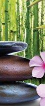 Fotobehang Flowers With Zen Stones | DEUR - 211cm x 90cm | 130g/m2 Vlies