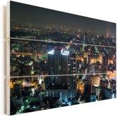 Uitzicht op de verlichtte stad Nagoya in Japan Vurenhout met planken 90x60 cm - Foto print op Hout (Wanddecoratie)