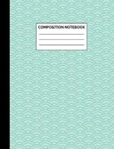 Composition Notebook: Mint Blue Scallop Pattern Wide Ruled Lined Note Book - Pretty, Modern Japanese Style Journal with Lines for Kids, Teen