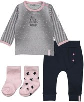 Dirkje Basics Meisjes Set(4delig) Shirt gestreept met Broek Donkerblauw met 2 paar sokjes - Maat 74