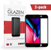 2-pack BMAX Apple iPhone 8 Full Cover Glazen Screenprotector (Zwart)   Dekt het volledige scherm!   Beschermglas   Tempered Glass