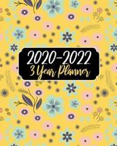 2020-2022 3 Year Planner: Yellow Floral, 36 Months Calendar Agenda Schedule Organizer January 2020 to December 20222 With Holidays and inspirati