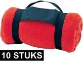 10x Fleece dekens/plaids rood met afneembaar handvat 160 x 130 cm - Woondeken - Fleecedekens