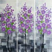 Schilderij 3 luik bloemen paars 90x90 Artello - Handgeschilderd