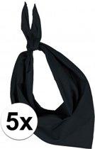 5x Zakdoek bandana zwart - hoofddoekjes