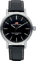 River Woods RW420023 Hudson horloge Heren - Zwart - Leer 42 mm