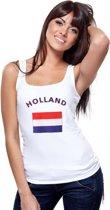 Witte dames tanktop met vlag van Holland S
