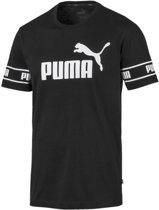 PUMA Amplified Big Logo Tee Shirt Heren - Puma Black - Maat M