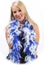 Blauw/witte boa 180 cm lang