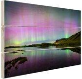 Waanzinnig noorderlicht in IJsland Hout 120x80 cm - Foto print op Hout (Wanddecoratie)