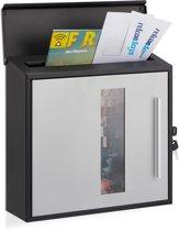 relaxdays brievenbus afsluitbaar - met venster - wandbrievenbus - modern design wandmodel Zwart-zilver