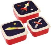 set van 3 doosjes met raket,  Spage Age (set van 3) | Rex Inter.