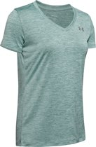 Under Armour Tech SS V-Twist Dames Sportshirt - Maat M - Hushed Turquoise