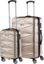TravelZ Diamond Kofferset - Luxe TSA Trolleyset 2-delig - 76 & 55cm met dubbele wielen - Champagne