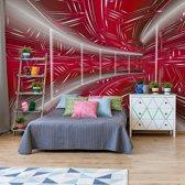 Fotobehang Modern 3D Tech Tunnel Red   VEXXL - 312cm x 219cm   130gr/m2 Vlies