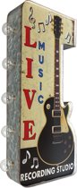 Signs-USA - Light up! Dubbelzijdig Live Music vintage marquee uithangbord met bulb lampen - 30 x 8 x 58 cm