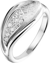 The Jewelry Collection Ring Gescratcht Zirkonia - Zilver Gerhodineerd