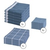 Byrklund Set Blauw - 5x Theedoek 50x70cm + 5x Keukendoek 50x50cm + 6x Vaatdoek 30x30cm