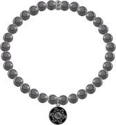 7KB-0015M - Heren armband met stalen elementen - pokerchip 100 - Hematiet natuursteen 6 mm - maat M (18 cm) - zilverkleurigkeurig