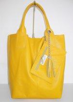 a2f5c681c6f TASvanTESS 100% leren shopper met ritstasje Italy zonnebloem geel