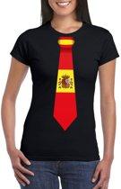 Zwart t-shirt met Spanje vlag stropdas dames L