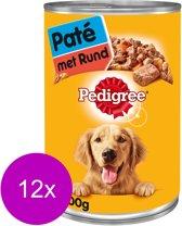Pedigree Blik Hondenvoer Adult Pate - Rundvlees - 12 Blikken a 400 gr