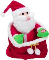 Zingende kerstman van pluche in zakje