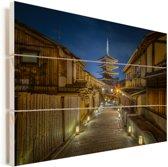 Higashiyamaku bij het Japanse Kioto Vurenhout met planken 80x60 cm - Foto print op Hout (Wanddecoratie)